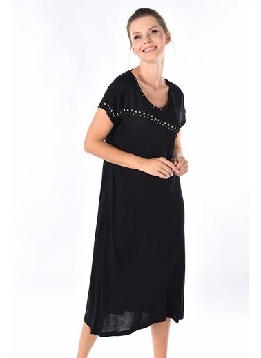 Optique Kısa Kollu Elbise Siyah